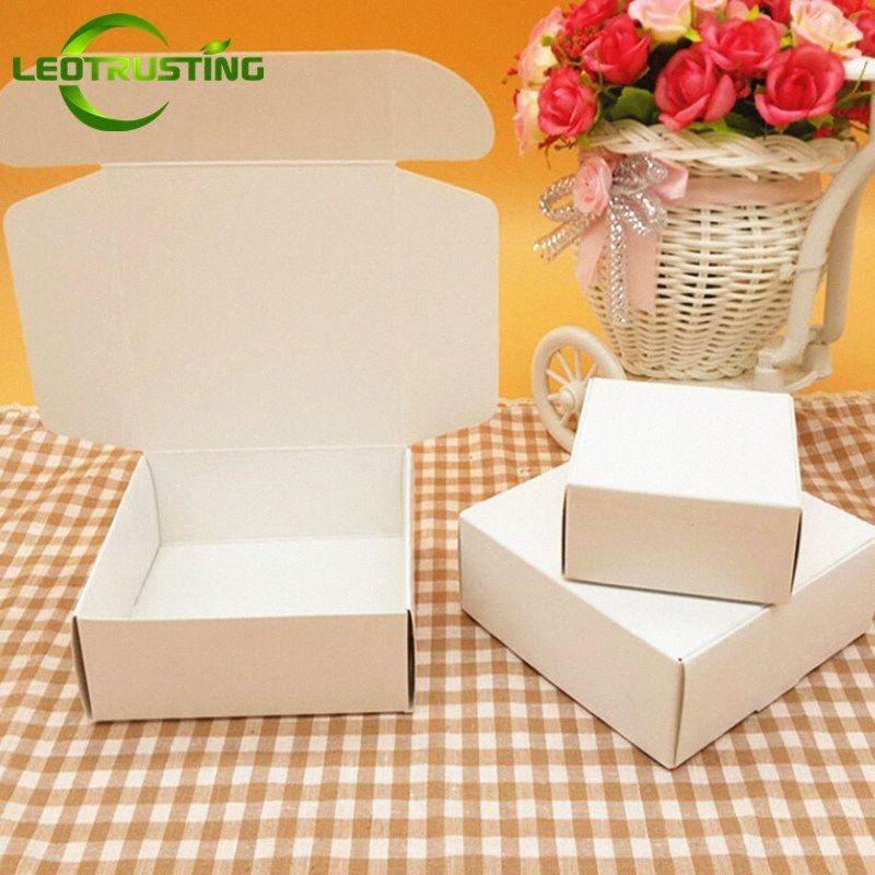 Leotrusting pequeno branco em branco cartão de presente do casamento de papel embalagem caixa de presente Livro Branco Caixa Handmade Soap EmKx #