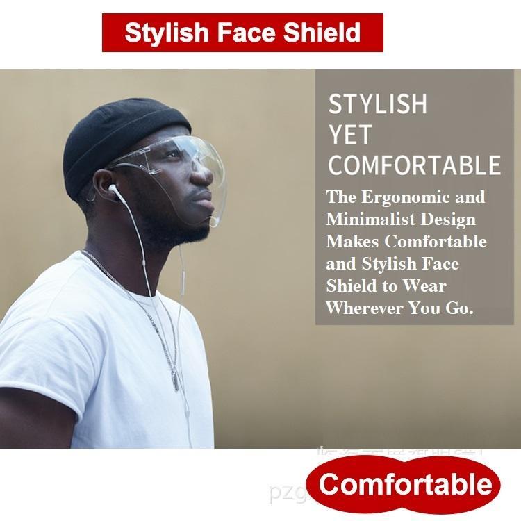 FedEx 1 día Free Ship Face Shield Máscara de cara completa PET aislamiento protector máscara escudete gafas Soporte escudo para prevenir las gotitas