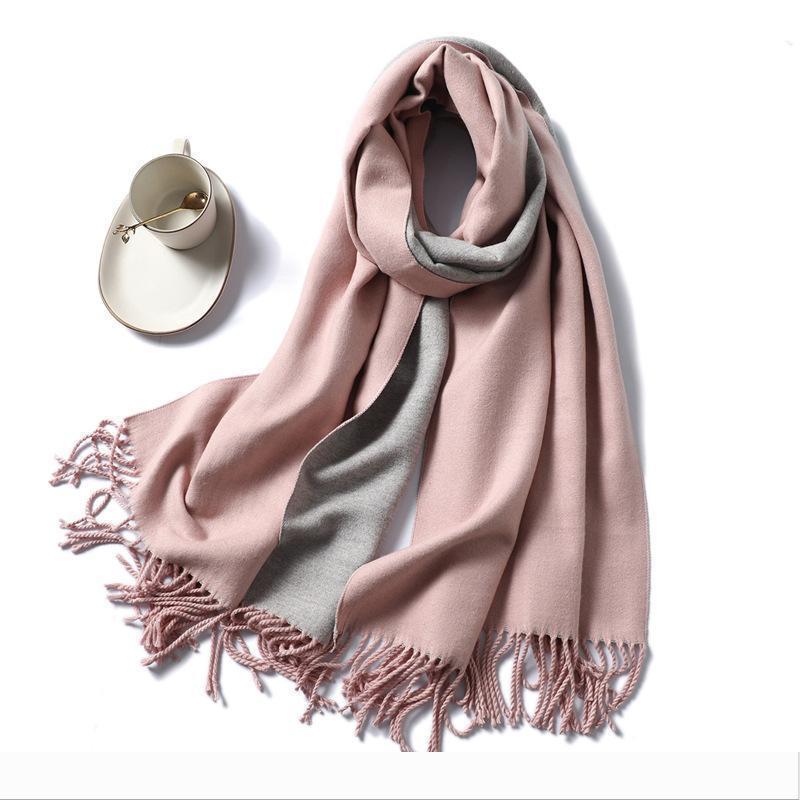 Diseñador 2020 nuevas muchachas de invierno mantón de la bufanda del cabo del rectángulo Wraps gruesa bufanda rosa mujeres feas reversible