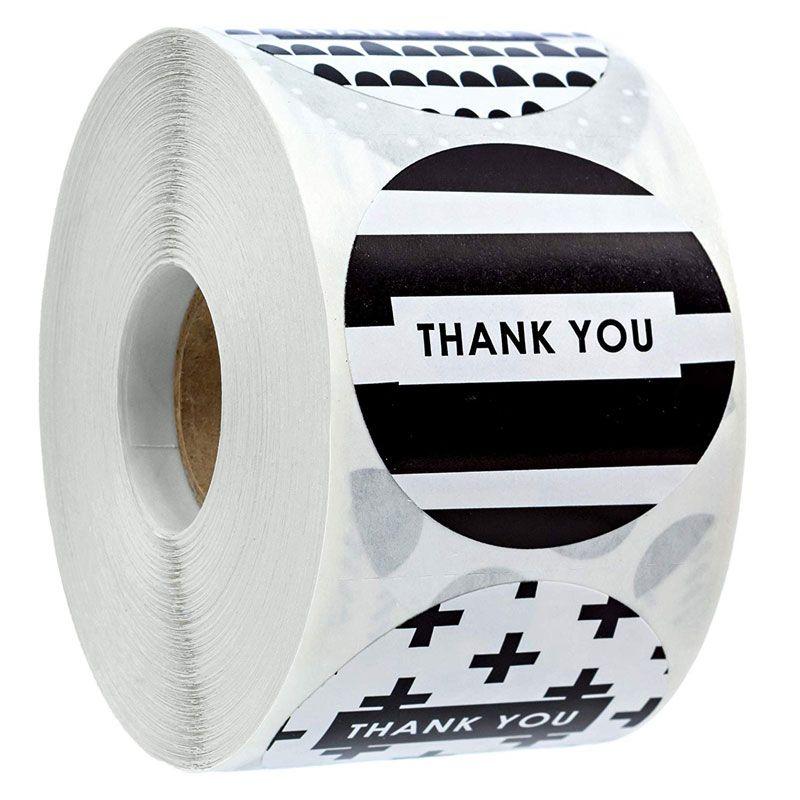 1.5 pulgadas 500 unids Etiquetas de papel Gracias Etiquetas de negocios Etiquetas de sello Etiquetas Bolsa de regalo Hornear Decoración del sobre