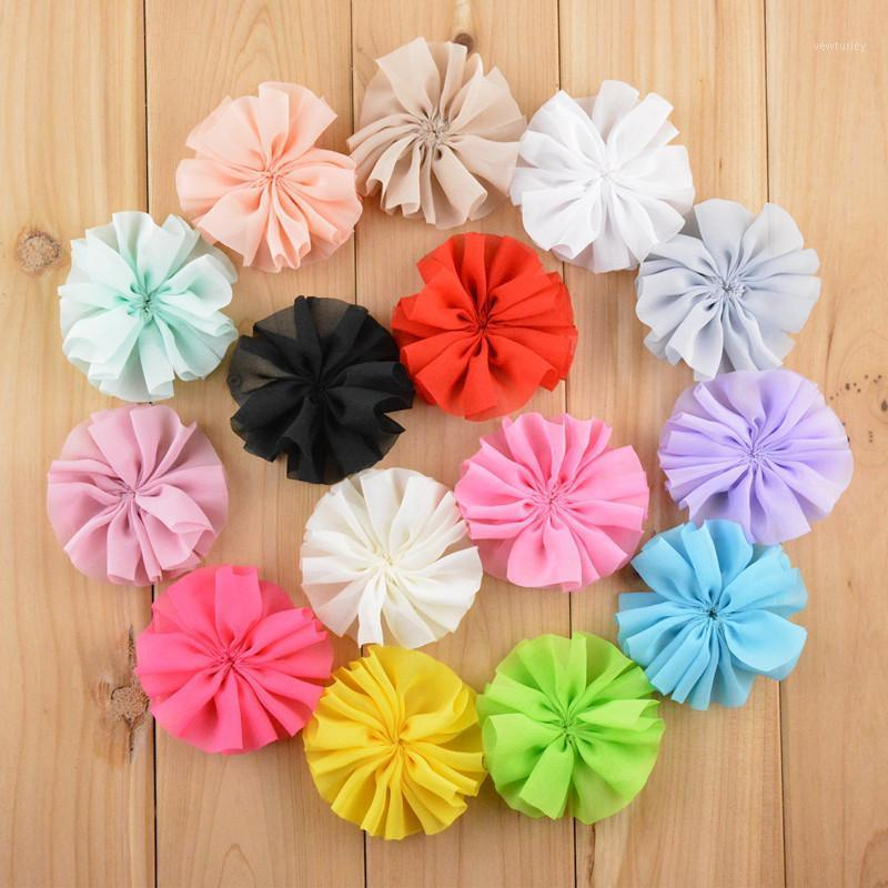 Vendita calda 40pcs / lot 7 cm fiori di tessuto fiore in chiffon per fascia per capelli fai da te accessori per capelli LSFB0701