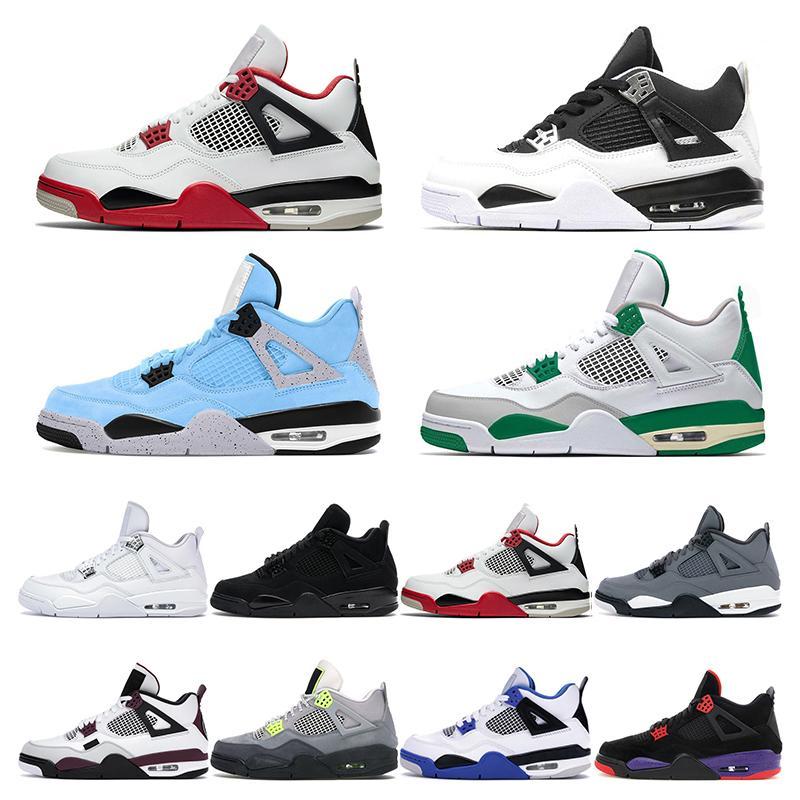 2021 mens scarpe da basket 4s jumpman 4 Blue Black Cat mens cemento denaro puro sport scarpe da ginnastica formatori Olimpiadi Fire Red Pine verde universitari