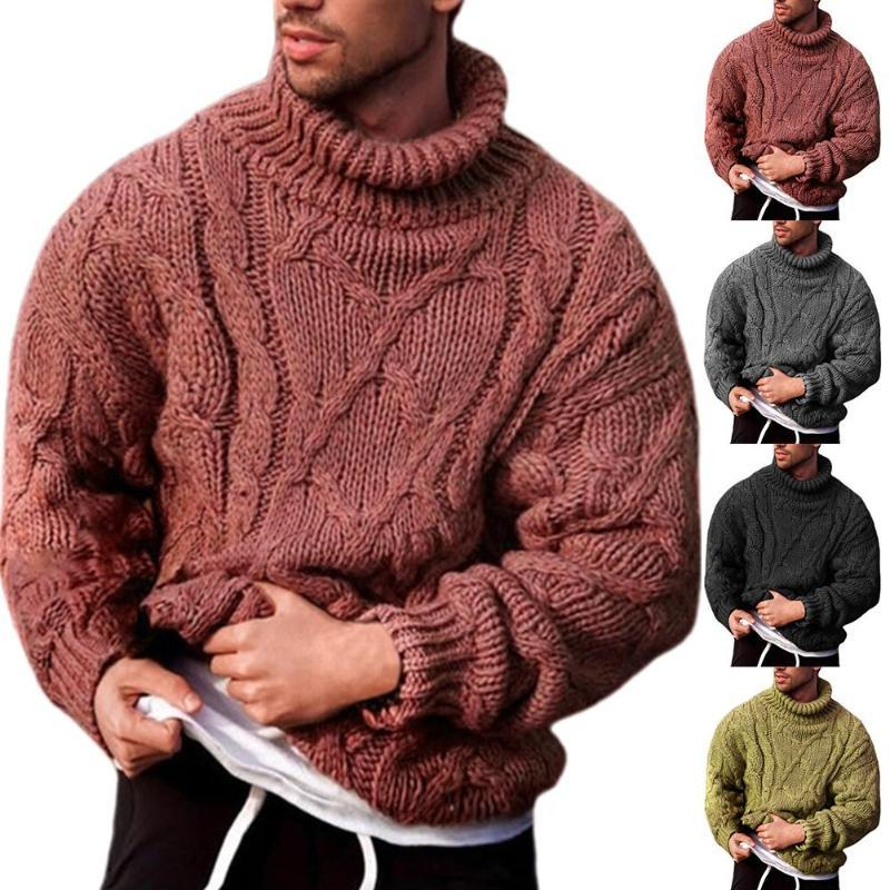 Men's Autumn Winter Solid Color Knitted Sweater Fashion Men Autumn Winter Twist Braid Knit Sweater Turtle Neck Jumper-Pullover