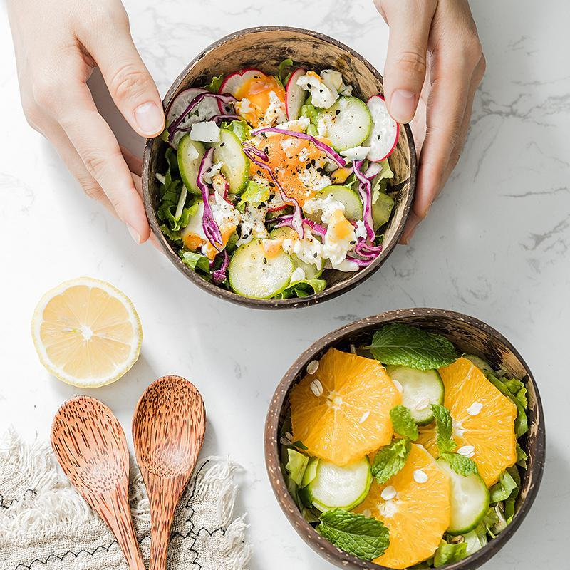 Coconut Fruit Salad Wooden Handicraft Noodle Rice Bowl Natural Decoration Bowl
