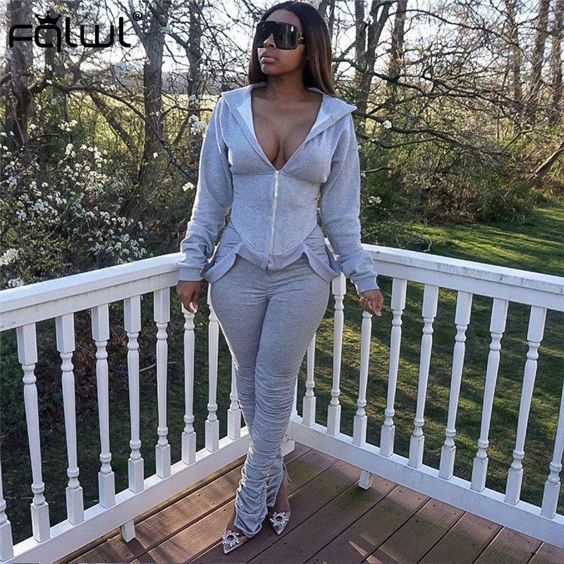 FQLWL Streetwear 2 İki Adet Set Kadınlar Kıyafetler Kapşonlu Yığın Tozluklar Pantolon Kadınlar Eşleşen Takımlar Aktif Spor Bayan Eşofmanlar 201007