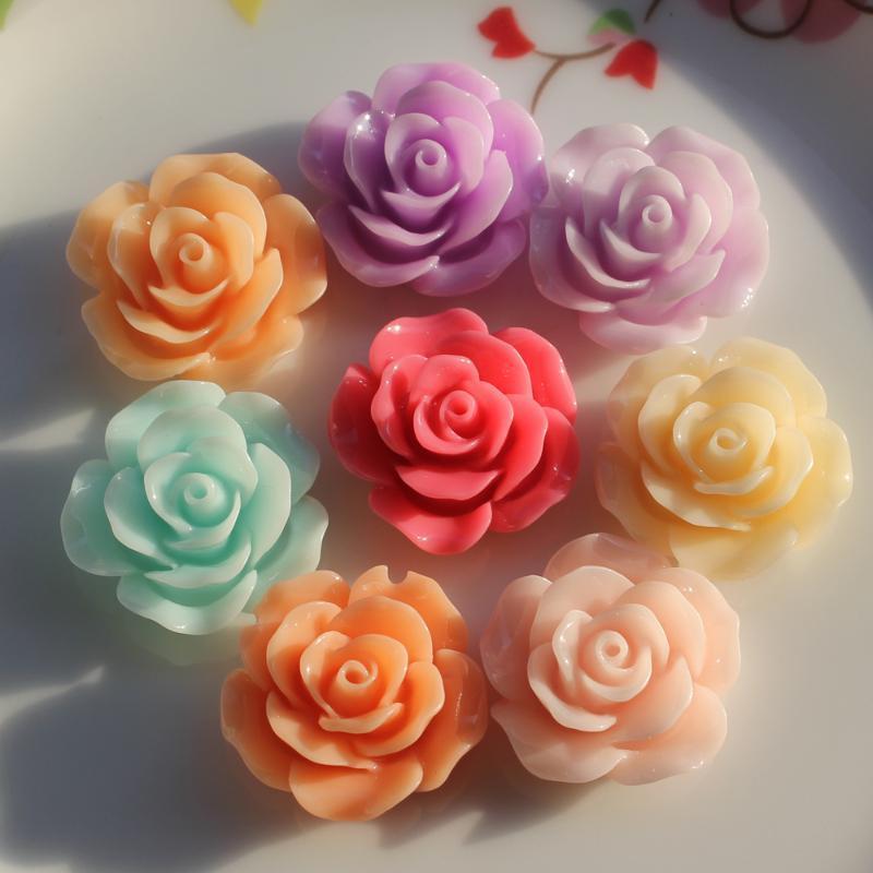 100шт Различные Смешанный Размер Роза Форма смолы цветок Flatback кабошоны для телефона Свадебный DIY Craft