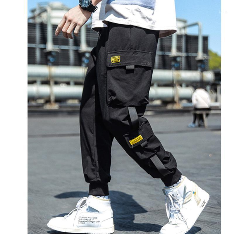 2020 Primavera Hip Hop Joggers Men Black Harem Pantalones Multi-Pocket Cintas Hombre Swearswear Streetwear Casual Mens Pants M-3XL1