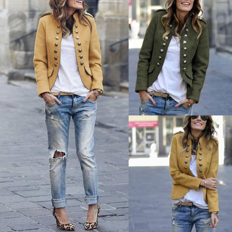 Sonbahar Kış Parti K2 için 2020 Moda Kadın Sıcak Satış İyi Lady Uzun Kollu Düğmeleri Katı Renk Suit Coat İçin Yeni Geliş