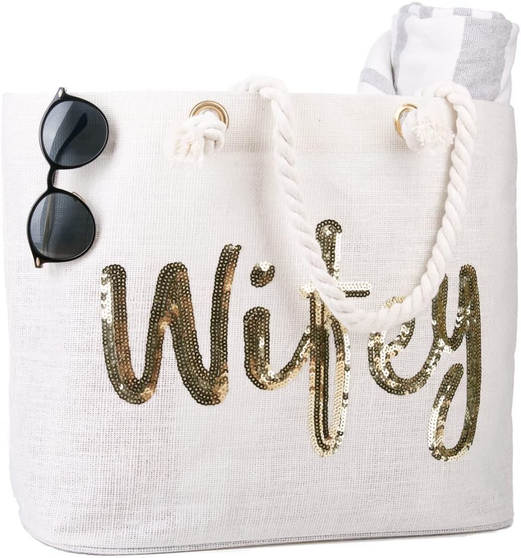 Ducha de la novia ElegantPark Wifey boda nupcial de mano Regalo Bolsillo interior blanca Jumbo Bolsa de hombro con lentejuelas de oro 100% yute