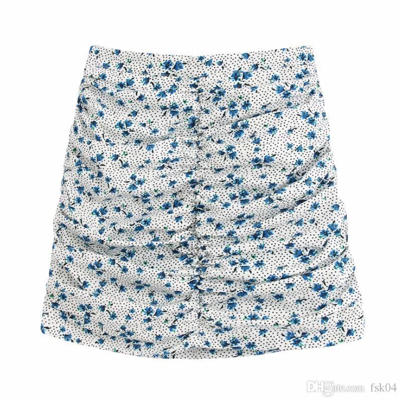 Flower impresión de mujeres plisadas mini falda 2020 nueva moda casual dama a-line falda p1575