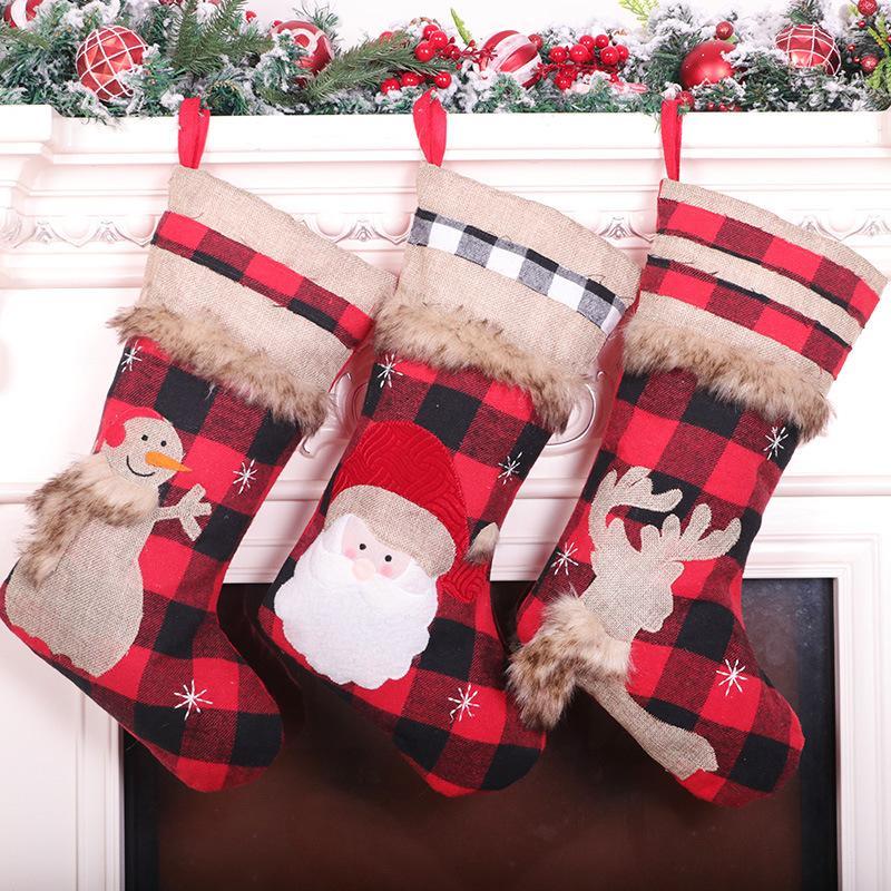Красный и черный сетки плюс бархат Рождественские украшения чулок мультфильм мило животное Рождество кулон подарок мешок Dropshipping F5901