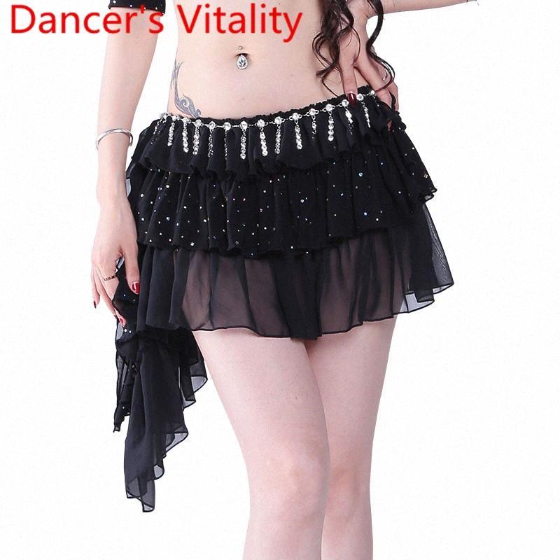 Nouvelle danse du ventre court Vêtements Jupe Femme de danse du ventre Jupe Danse Costume S, M, L, Hk3V #