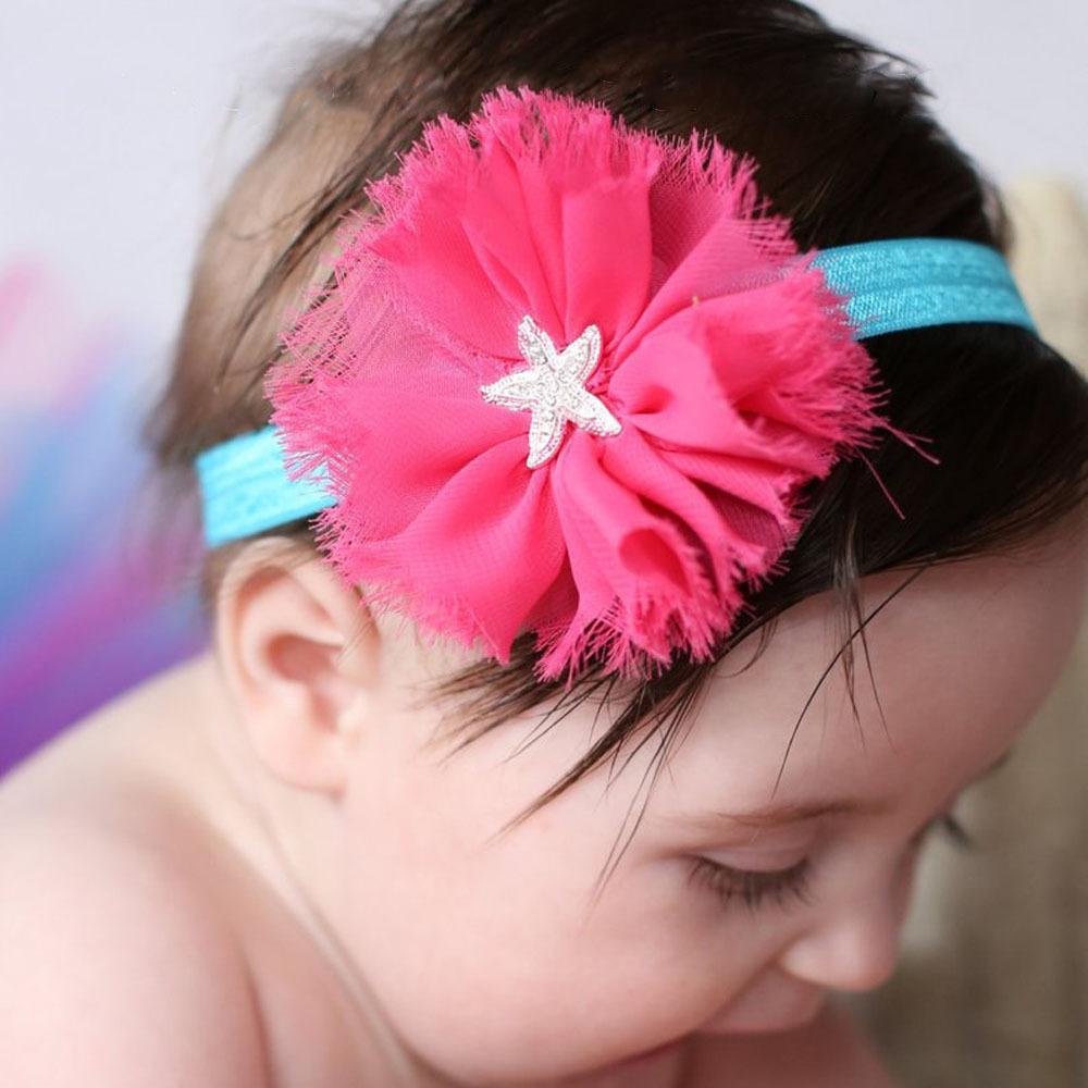 Baby Headbands Flowe Hairbands Infantil Rhinestone Starfish Elástico Cabeza de gasa Bandas Chicas niños Accesorios para el cabello Princess Tocado WKHA03