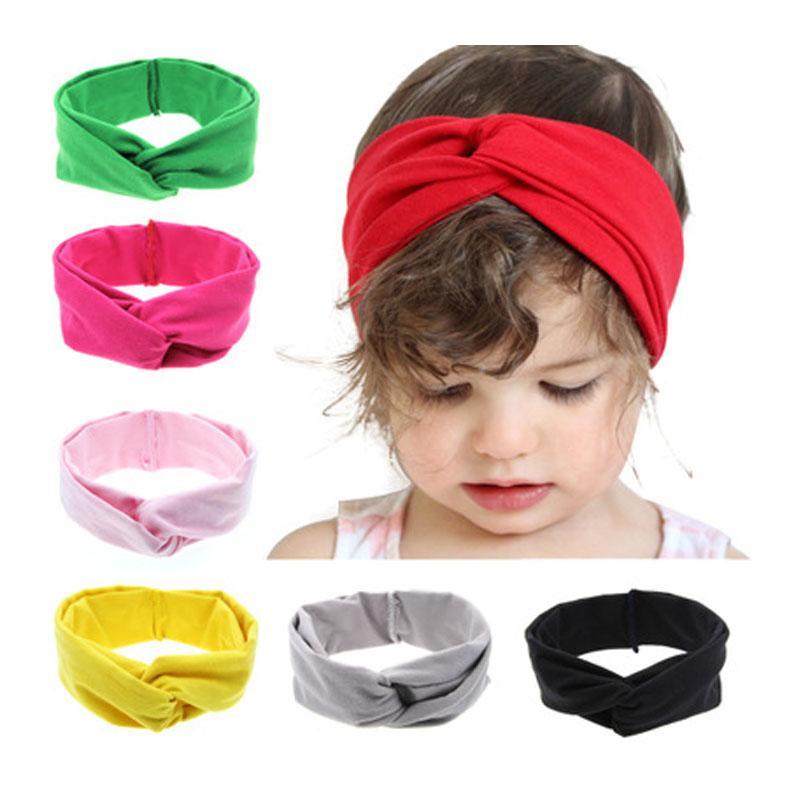 Sólido color de los niños de las vendas de los bebés elástico suave de los niños accesorios para el cabello suave Cruz Headwear del color 11