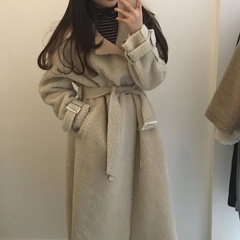 Alien Kitty Warm Women Coats Long Female 2020 Retro Loose Winter Belt Turn-down Collar Soft Jacket Double Breasted Chic Casual