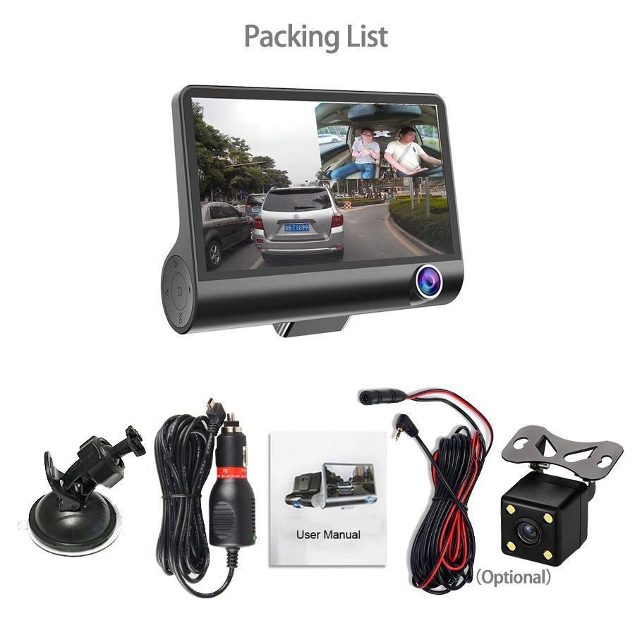Nouveau DVR 3 caméras Objectif 4,0 pouces Caméra Dash double objectif avec caméra de recul Video Recorder Auto Registrator dVR Dash Cam