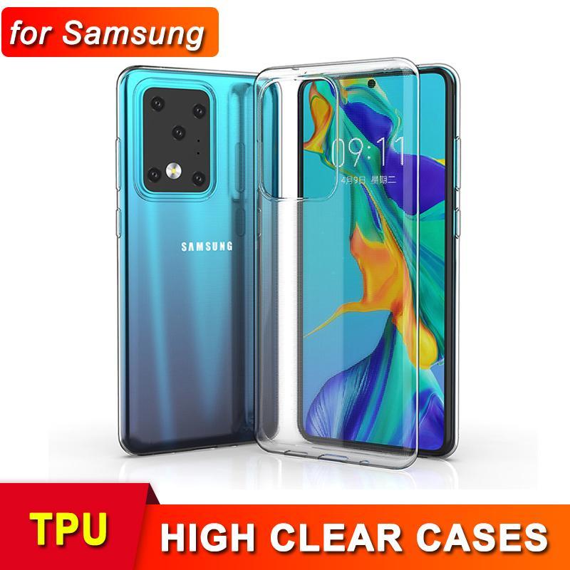 Nuevo caso ultra delgado de TPU para un nuevo iPhone 12 Mini Pro Max 11 XR XS MAX X SAMSUNG S20 Nota 20 Ultra Cubierta suave de silicona transparente
