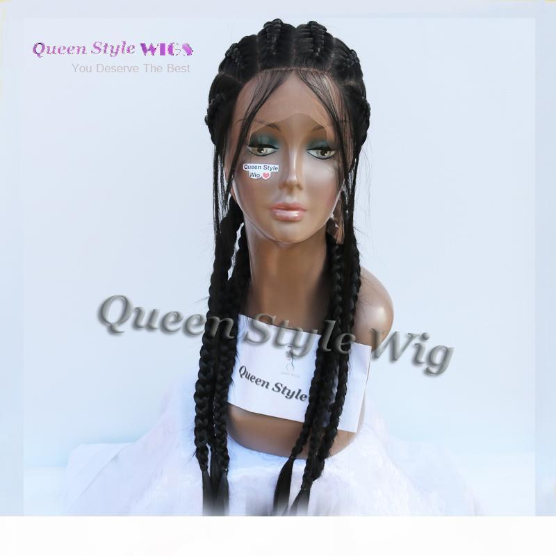 2017 Trendy Acconciatura Parrucca 100% Pure Hand Full Pizzo Full Trecciata Parrucca per capelli African Black Woman Box Intrecciatura Capelli Parrucche piene di pizzo
