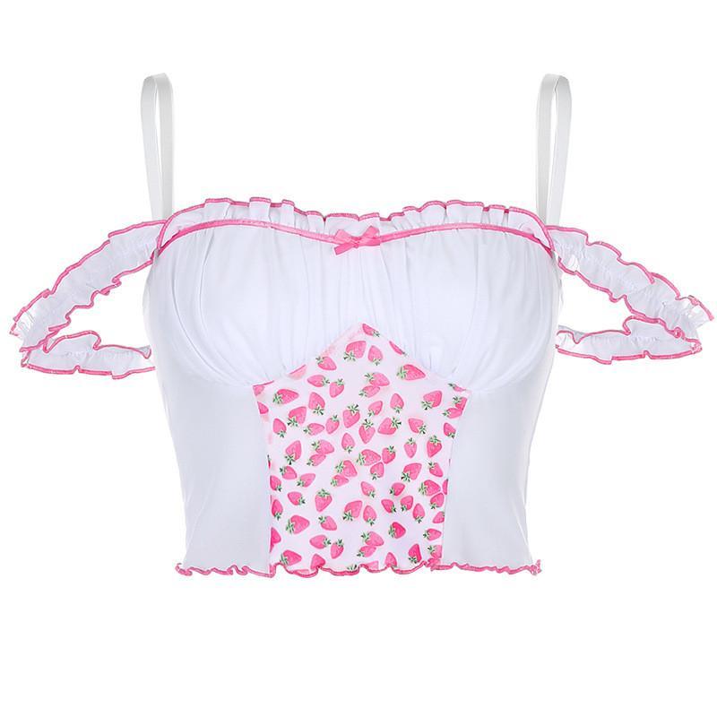 2020 Новый дизайн моды Женщины Спагетти ремень оборками Crop Top Клубничный сетки Лоскутная Тонкий Camis жилет