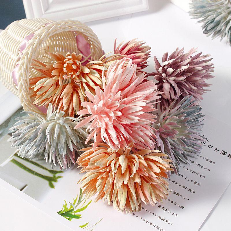 6pcs/lot 12cm New Artificial Flower Silk Mini Handmade Bouquet For Wedding Home Decoration DIY Wreath Christmas Fake Flowers