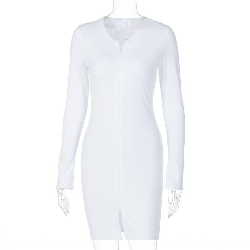 Kadınların favori sonbahar dressZipper elbise 2020 yeni uzun kollu fermuar seksi ve slimversatile Kalça Wrap Elbise V66xu
