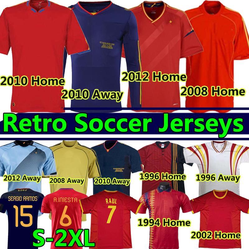 1994 1996 2002 2008 2010 2010 2012 Spanien Retro Soccer Jerseys Vintage Classic A.Inasta Torres Raul Xavi David Villa Langarm Fußball Hemd