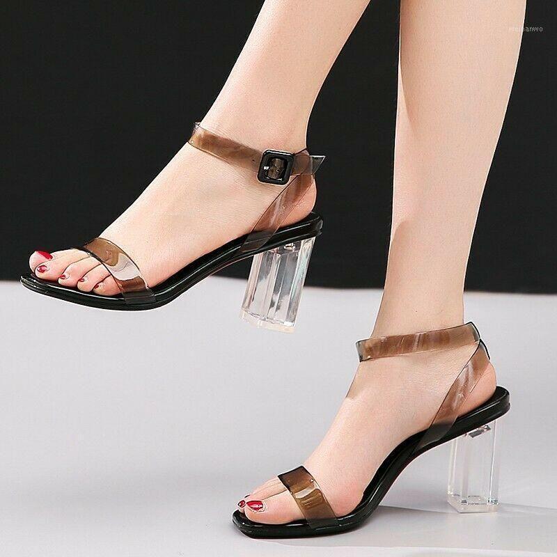 Sandali delle donne Sandali trasparenti Scarpe trasparenti Block Med Tacchi della caviglia Summer Party1