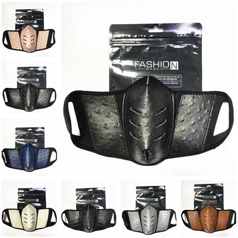 Vollfarbgesichtsmasken Mode PU-Leder Männer Frauen Mund Abdeckung Staubdichte Strauß Hautmaske draußen Atmungsaktive Sport Party Gesichtsmaske 2021