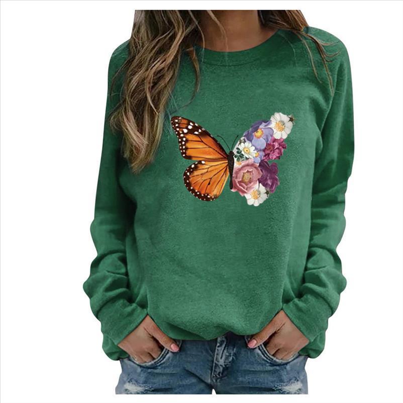 Autumn Butterfly Print O Neck Sweatshirt 2021 Elegant Long Sleeve Women Pullover Tops Casual Loose Hoodies Tracksuit Streetwear
