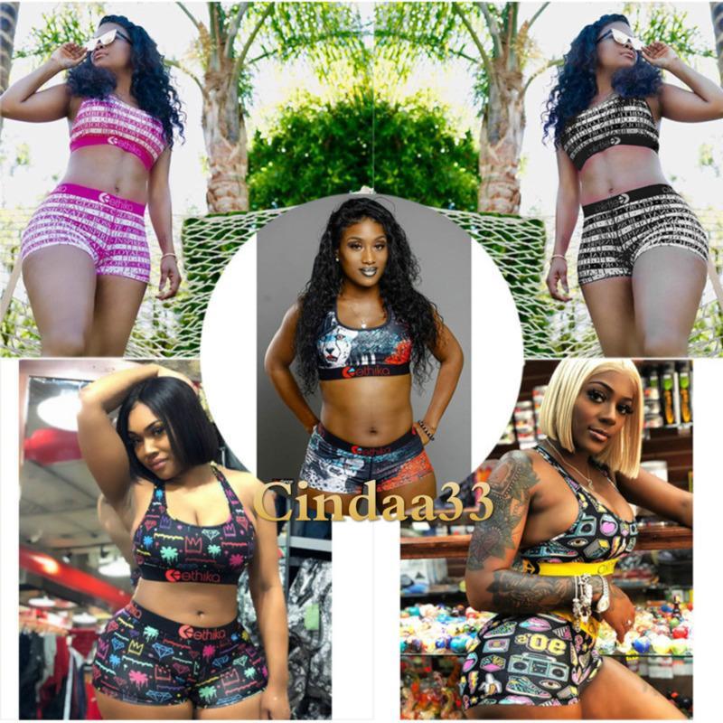 Women Designer Swimwear Ethika Sports Bra +Shorts Trunks 2 Piece Brand Tracksuit Quick Dry Beachwear Bikini Set Clothes 2021