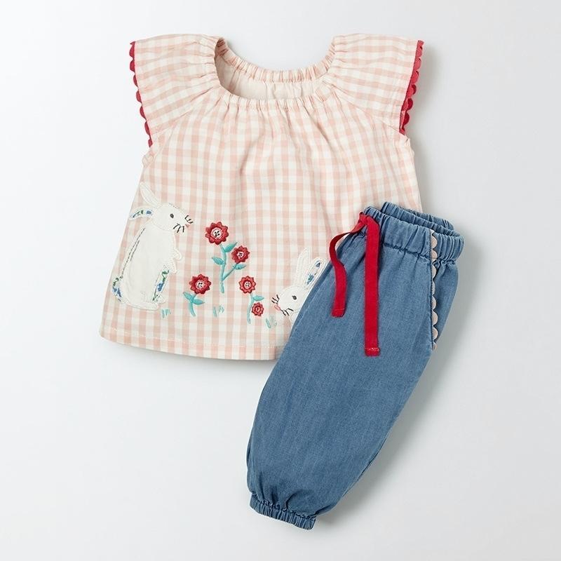 Little Maven 1-6years Coelho Bordado Bordado Verão Bebê Meninas Conjunto De Roupas De Terno Crianças Boutique Outfits Kits para Kids Y200325