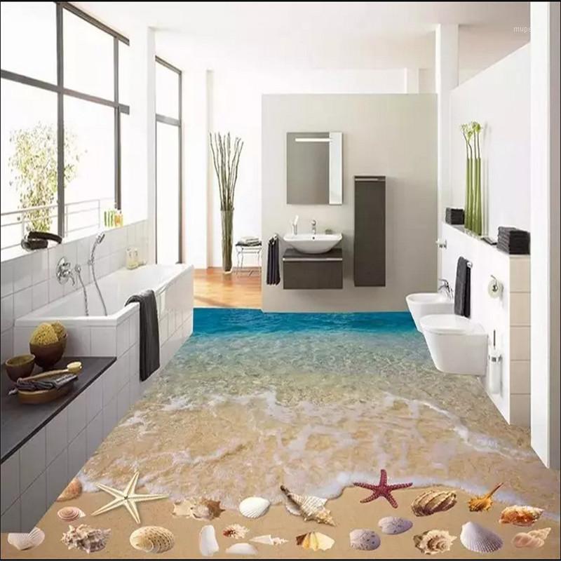 Großhandel-benutzerdefinierte 3D-Malerei Boden Tapete PVC Klebstoff Verschleiß Rutschfeste Wasserdichte Verdickte selbstklebende Wandaufkleber Wandbilder Shell Beach1