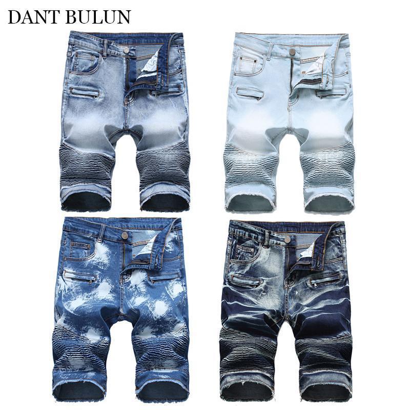 Pantalones de algodón de verano pantalones de mezclilla de verano SERVICIDAD CORTE Motorista Hombres Fit Skinny Fit Muelleado Pantalones rasgados para pantalones cortos Jean