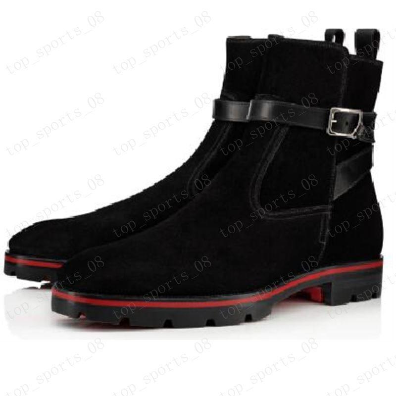 새로운 스타일의 붉은 바닥은 남성 부트 스파이크 스웨이드 가죽 남성 슈퍼 완벽한 멜론 오토바이 발목 부팅 유일한 남자 신발 빨간색 운동화