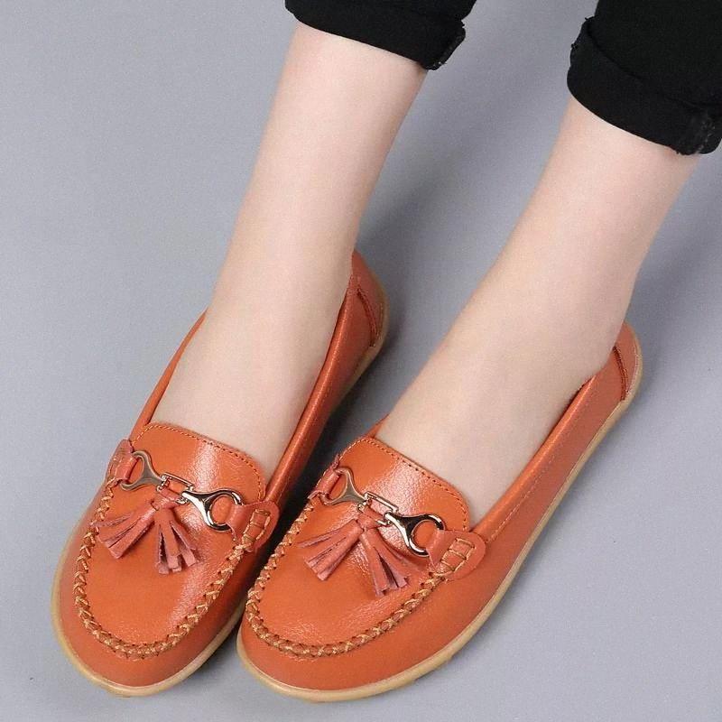 Лодочные туфли Женские Квартиры 2020 Мода Натуральная Кожа Квартиры Женские Обувь Сплошные Круглые Ножки Лезвины Запатиллас Муджер # DX01