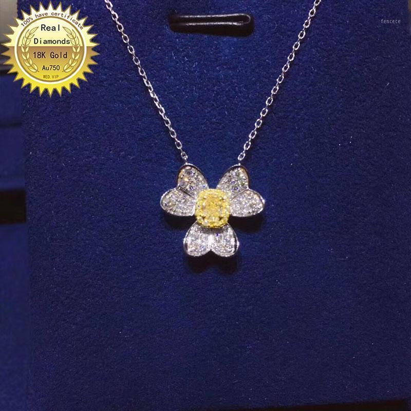 Цепи 18k Золотое Ожерелье Натуральный 0,15Кт Желтый Алмаз и 0,28CT Белые бриллианты 0011
