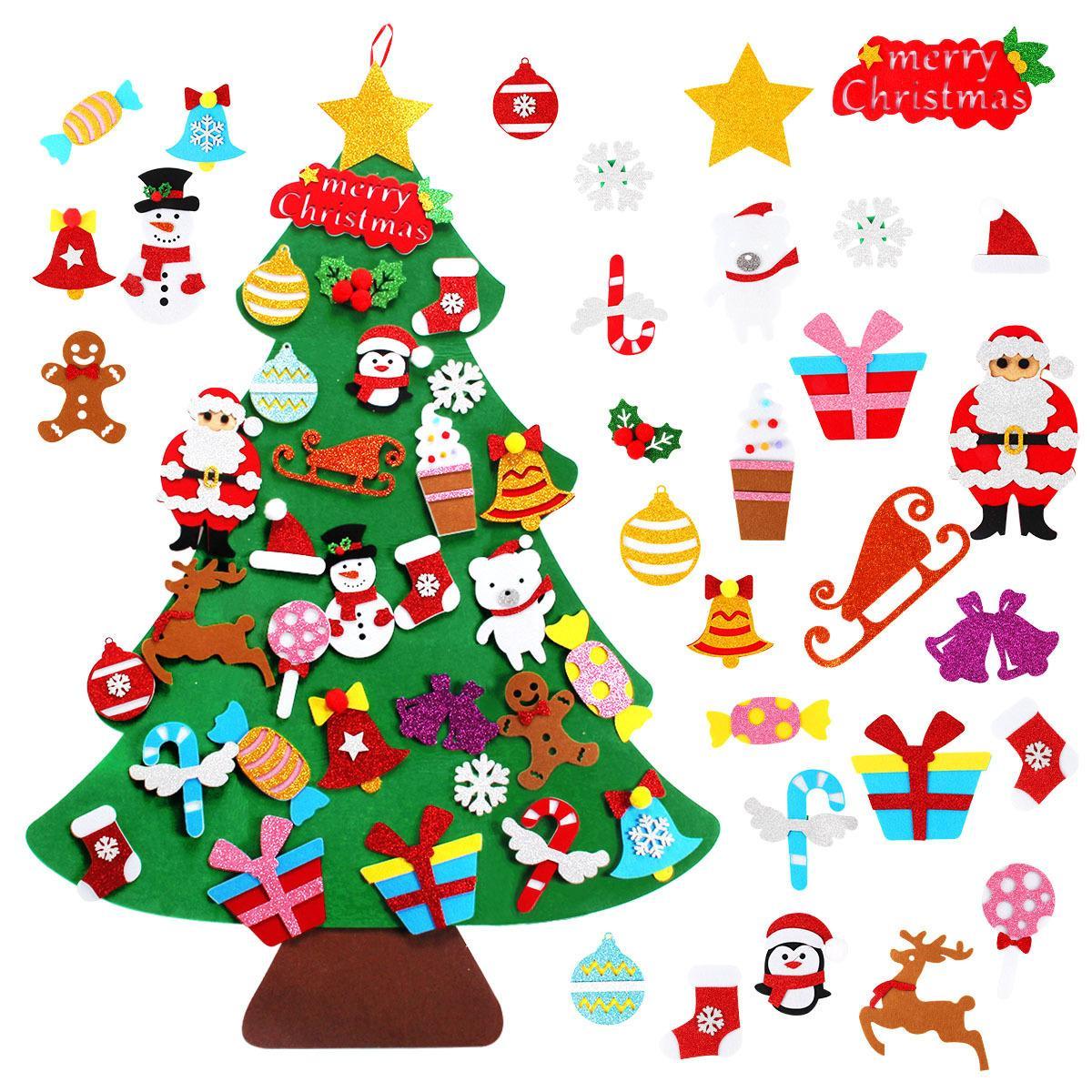 شعرت diy شجرة عيد الميلاد ديكور سانتا كلوز الاطفال اللعب ديكور عيد الميلاد للمنزل عيد الميلاد شنقا الحلي السنة الجديدة 2021 هدايا 201006
