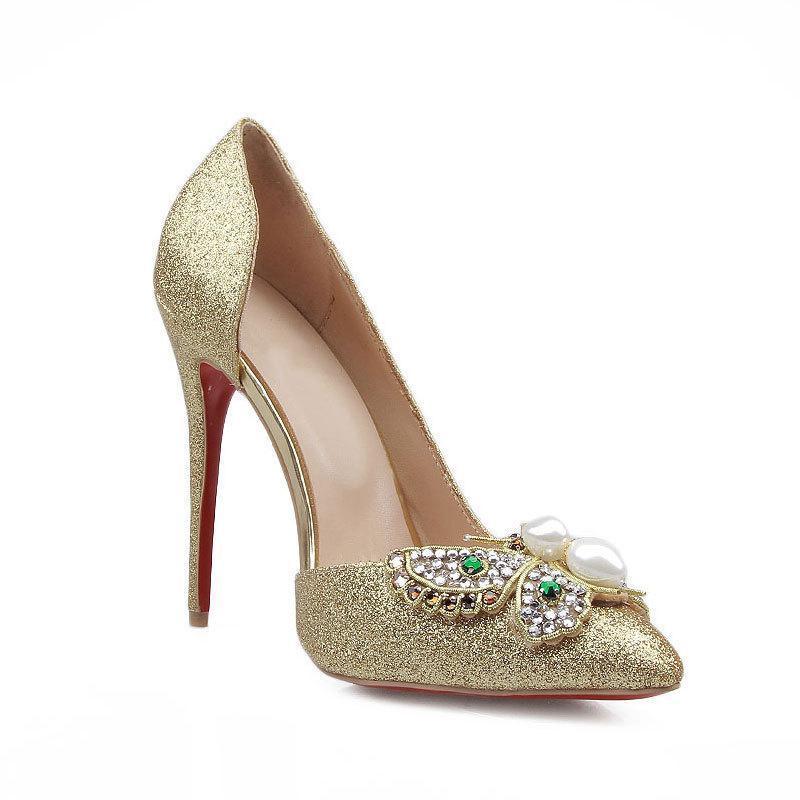Dress Shoes Donne Pompe Party High Tacchi alti Paillettes Fashion Primavera Rhinestone Metal Fiocco 11cm Matrimonio sottile