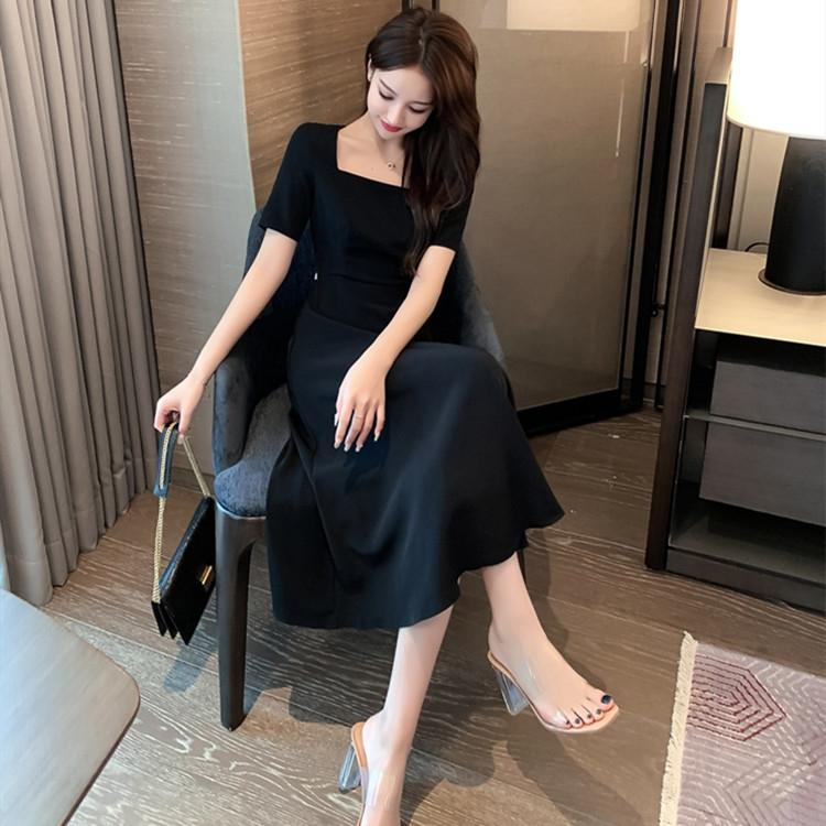 UFkf3 2020 летом тонкого Хепберн детского квадратного воротника длина короткого рукава стиль средней короткая юбка юбка закрытие талия показать новый темперамент