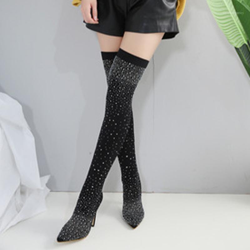 Kadın Seksi Uyluk Yüksek Kadın Çorap Çizmeler Bayanlar Sivri Burun Ince Topuklu Diz Çizmeleri Üzerinde Glitter Rhinestone Damla Shipping1