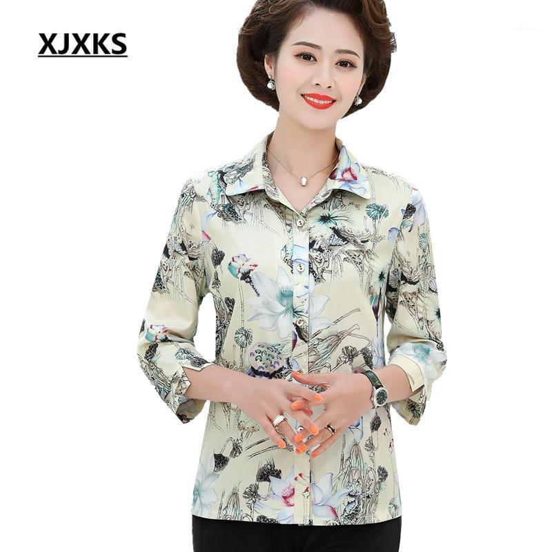 XJXKS Casual Tek Göğüslü Hırka Kadın Gömlek 2020 İlkbahar Yaz Yeni Gevşek Artı Boyutu Rahat Kadın Bluz Tops1