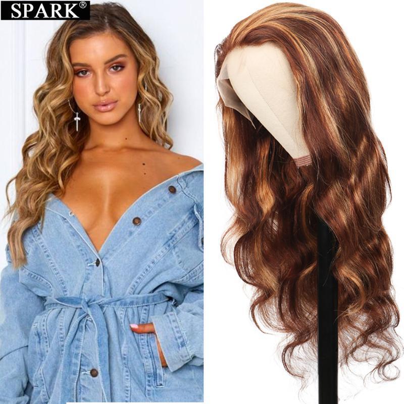 Кружевные парики OMBRE 4/27 выделение волны тела передние человеческие волосы 30 32 дюйма 150% 180% плотность бразильского реми 13x4 Frontal