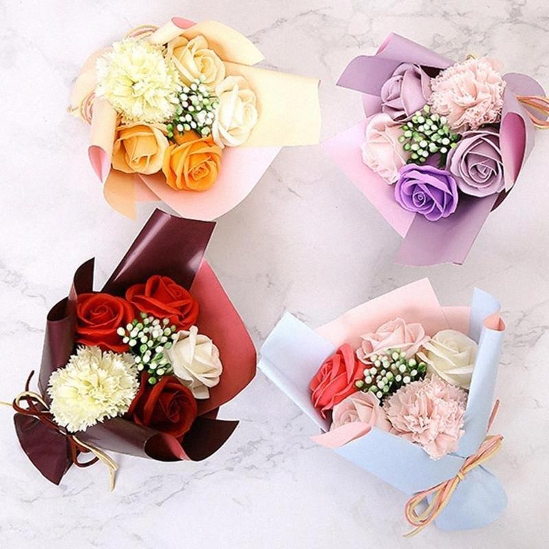 Savon Fleurs Rose Bouquet Valentins Day-cadeaux Fleurs artificielles mariage Proposer Faux romantique Bouquet de fleurs Flores Artificiales ygHm #