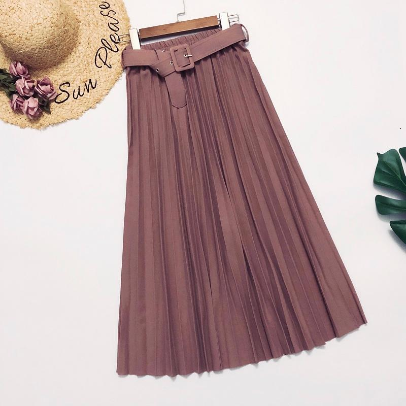 2020 Korean Style Women Long Pleated Skirts With Belt High Waist Office Casual Lady Kawaii Retro Vintage Streewear