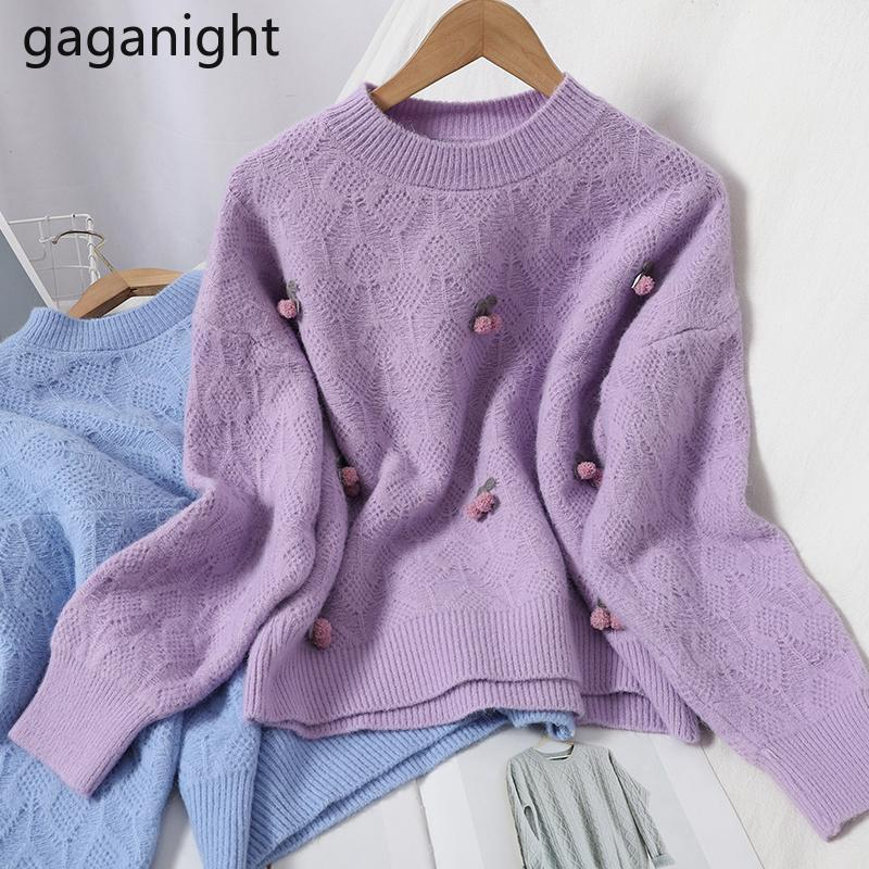 Gaganight Dolce Donne Maglione Solid Manica Lunga O Collo Fashion Lady Chic Pullover Kawaii Girls Winter Pull Dropshipping Dropshipping
