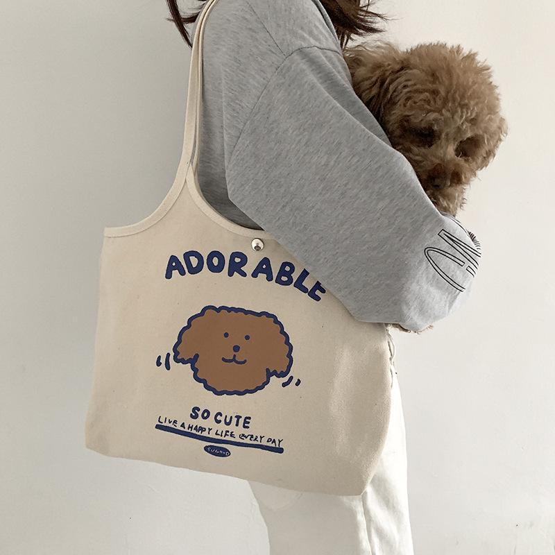 Sac à bandoulière en toile pour femmes Sacs d'épaule mignon chien étudiant filles beige tissu sacs à main de grande capacité dames réutilisables shopping fourre-tout