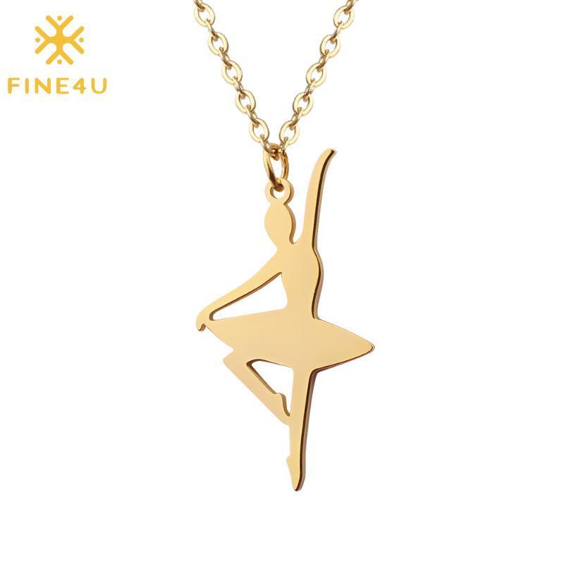 FINE4U N464 acero inoxidable del bailarín de ballet del collar pendiente de la bailarina del decreto de la danza de la joyería para los regalos de cumpleaños muchachas de las mujeres