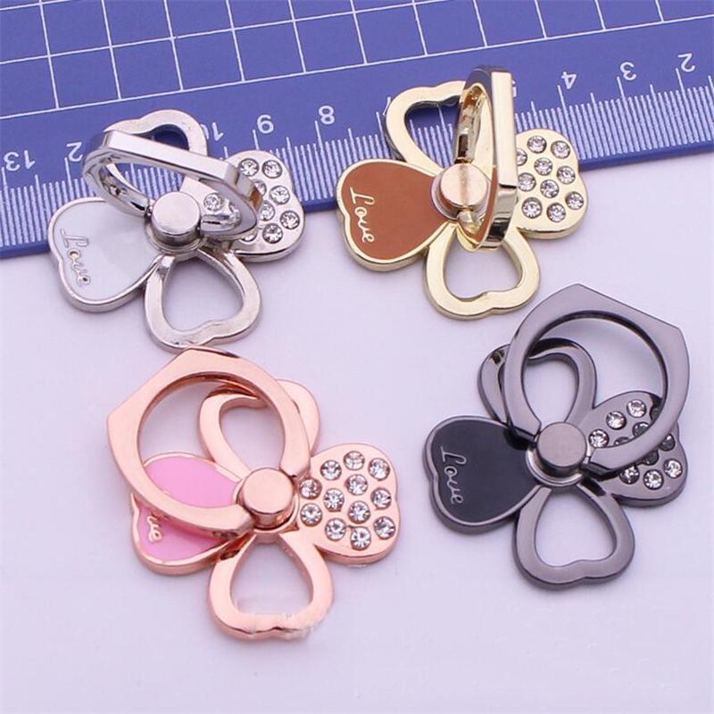 Telefonhalter diamant vier blatt klee klee metall handyhalter 360 grad fingerring halter telefonständer für iphone xs xr