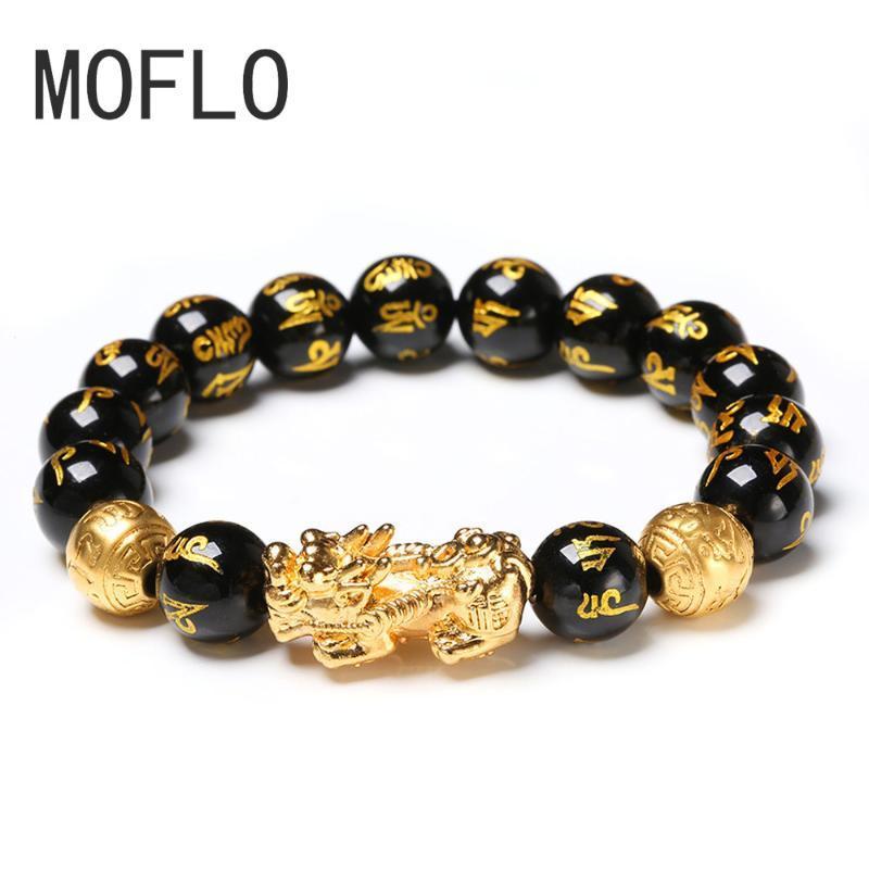 MOFLO 2020 Yeni Moda Feng Shui Siyah Obsidiyen Bilezik Boncuk Taklit Kristal Cam Charm Feng Shui Bilezik