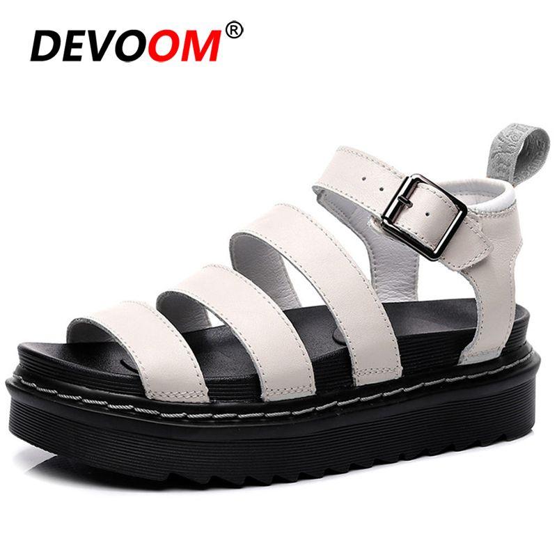 Yaz Ayakkabı Kadın Moda Siyah Deri Flats Bayanlar Sandalet Plaj Chunky Sneakers Platformu Sandalet Kadınlar Sandalias Mujer 201021
